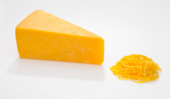 Dairy Product「Wedge and Shredded Cheddar Cheese on White」:スマホ壁紙(7)