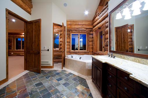 Log「Slate Floor in Bathroom of Log House」:スマホ壁紙(2)