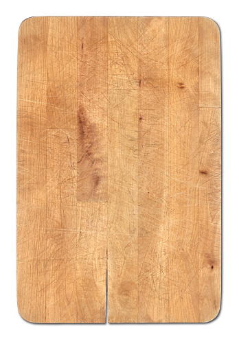 Cutting Board「Wooden bread cutting board isolated on white, knife's cuts visible」:スマホ壁紙(18)