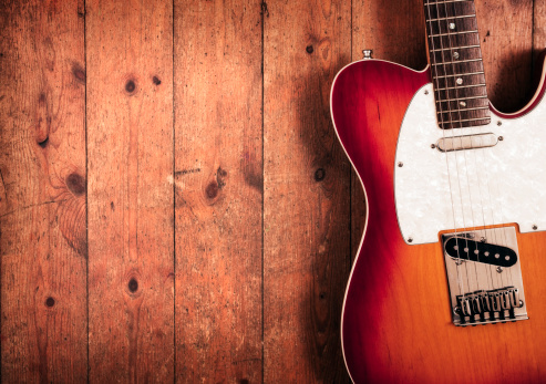 Rock Music「Electric guitar on wood」:スマホ壁紙(6)