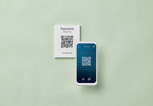 Mobile Payment「Smartphone scanning QR code for contactless payment」:スマホ壁紙(17)