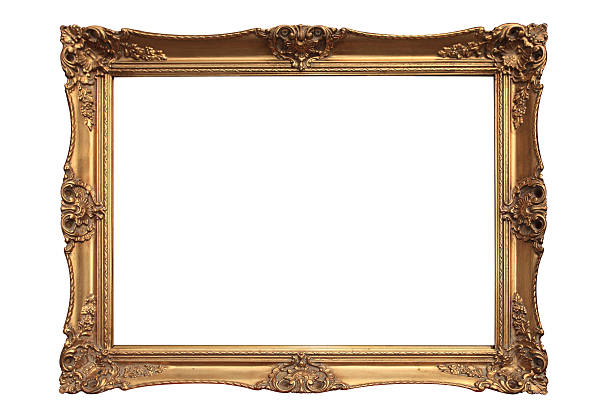 Empty gold ornate picture frame with white background:スマホ壁紙(壁紙.com)