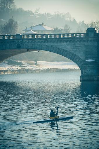 Footbridge「Kayak Under Po River and Bridge to Gran Madre Church in Turin Italy」:スマホ壁紙(10)