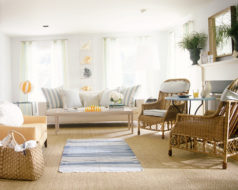 Archival「Spacious living room with orange and blue accents」:スマホ壁紙(11)