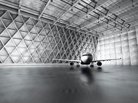 Garage「Hangar, garage, warehouse with passenger airplane」:スマホ壁紙(1)