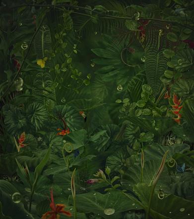 Tiger「fairy rainy jungle with hide wild animals」:スマホ壁紙(11)