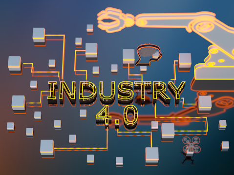 Internet of Things「Industry 4.0 digital technology 3d concept. Group of icons.」:スマホ壁紙(2)