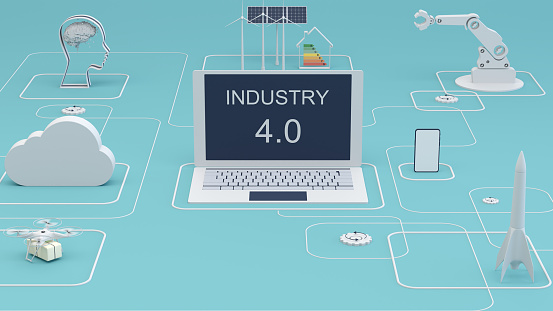 Internet of Things「Industry 4.0 digital technology 3d concept. Group of icons.」:スマホ壁紙(4)