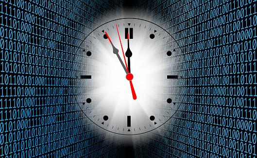Zero「Clock face in binary codes of one and zero」:スマホ壁紙(4)
