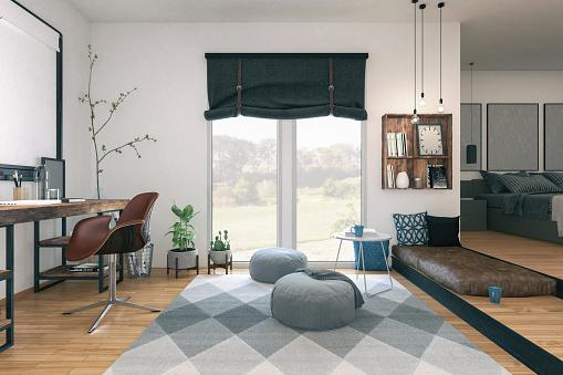 Working「Modern small apartment」:スマホ壁紙(17)