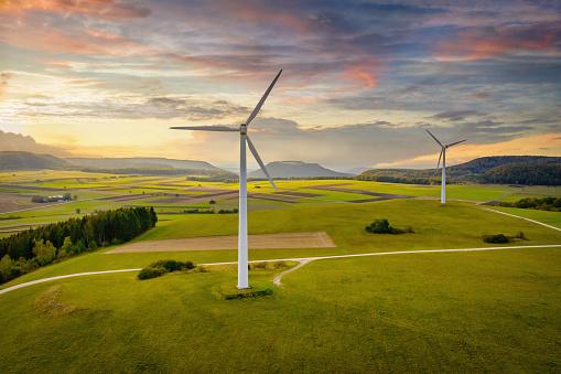 Wind Turbine「Alternative Energy Wind Turbine Green Landscape at Sunset」:スマホ壁紙(19)