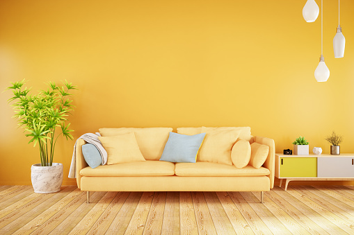 Orange Color「Yellow Living Room with Sofa」:スマホ壁紙(1)