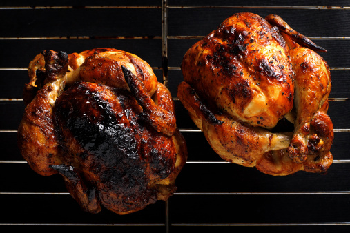Chicken Meat「Two roasted chickens still on the grill」:スマホ壁紙(19)