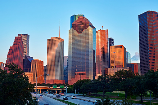 Postmodern「The Central business district and skyline of Houston at dusk」:スマホ壁紙(1)
