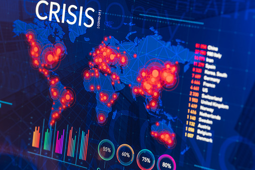 Touchpad「Infographic of global finance and healthcare crisis on digital display」:スマホ壁紙(12)
