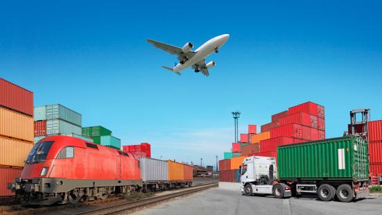 Commercial Airplane「Global travel via cargo train, container ship, air」:スマホ壁紙(11)