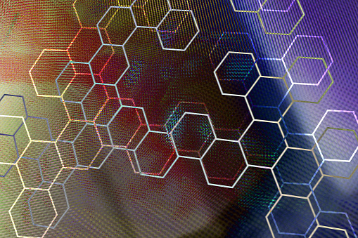 Quantum Computing「Graphic hexagon shapes on abstract background」:スマホ壁紙(8)