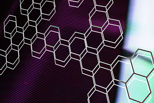 Quantum Computing「Graphic hexagon shapes on abstract background」:スマホ壁紙(11)