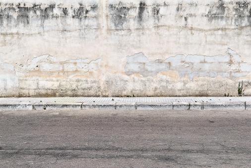 Deterioration「Old concrete grunge wall with sidewalk」:スマホ壁紙(15)