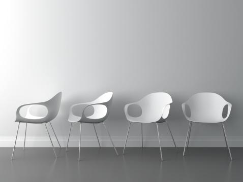 Office Chair「3d modern chair on white wall」:スマホ壁紙(15)