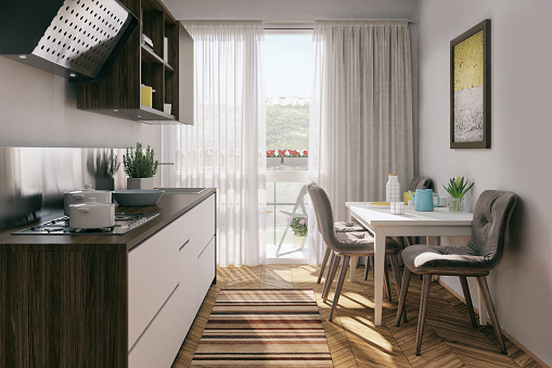 Domestic Kitchen「Small kitchen with dining table」:スマホ壁紙(15)