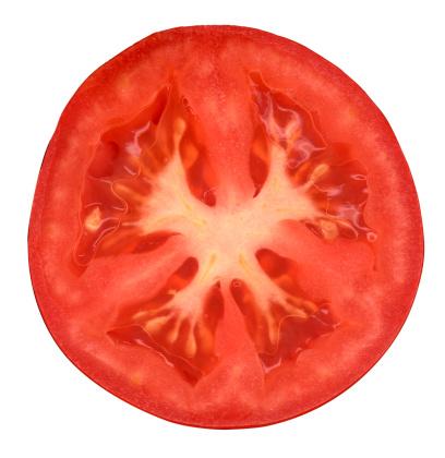 Halved「Half of tomato on white background」:スマホ壁紙(8)