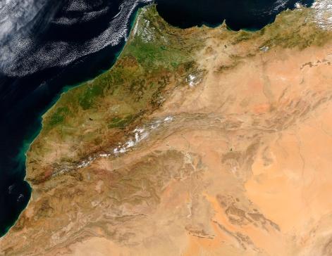 """アトラス山脈「""""Morocco, satellite image""""」:スマホ壁紙(9)"""