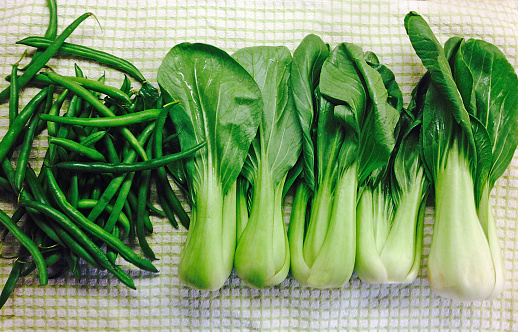 Insecticide「Just washed Bok Choy and green beans drying on a towel on a domestic kitchen counter」:スマホ壁紙(11)