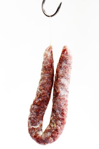 Sausage「Salami hanging on butcher hook, close-up」:スマホ壁紙(2)