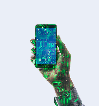 Mother Board「Double exposure of a hand holding a smart phone and a circuit board」:スマホ壁紙(5)