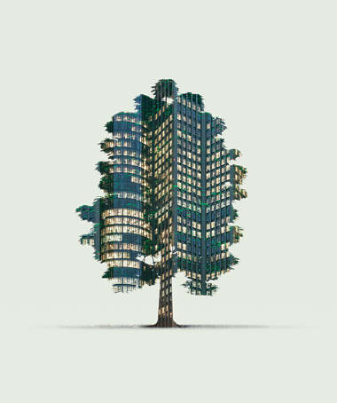 Multiple Exposure「Double exposure of a tree and an illuminated skyscraper」:スマホ壁紙(12)
