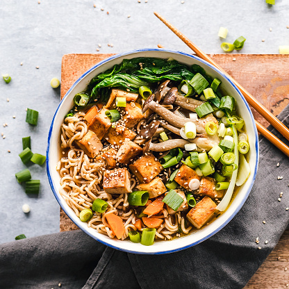 Savory Food「Bowl of vegan miso ramen with tofu and mushrooms」:スマホ壁紙(19)