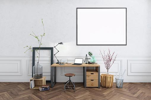 灰色「空白のポスター フレーム ホーム オフィス インテリアの背景テンプレート」:スマホ壁紙(18)