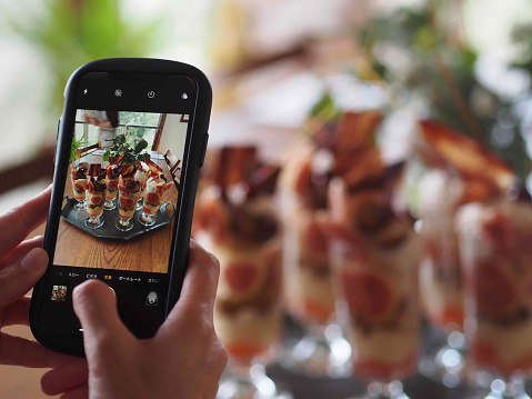 Influencer「Taking Photo of Common Fig, Apple and Chestnut Parfait」:スマホ壁紙(12)