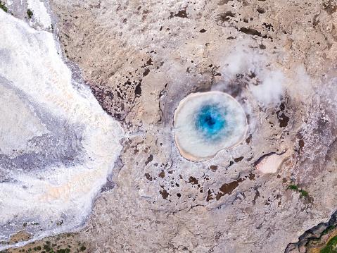 アイスランド ゴールデンサークル「Aerial overhead view of geyser, Geysir, Iceland」:スマホ壁紙(7)