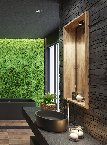 Stone Wall「Luxurious modern home spa bathroom with matte black tiles and green moss plant wall」:スマホ壁紙(12)
