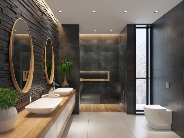 Luxurious minimalist bathroom with slate black stone wall:スマホ壁紙(壁紙.com)