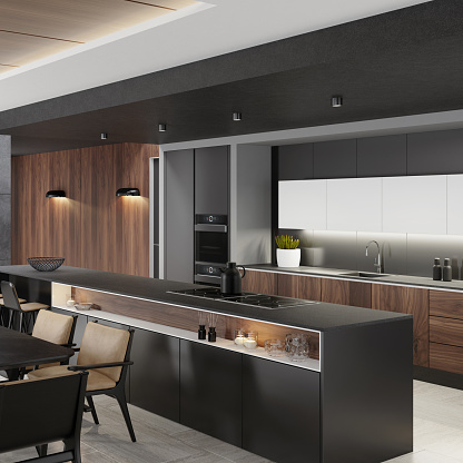 Black Color「Luxurious matte black minimalist kitchen interior with long island table and dining table」:スマホ壁紙(5)