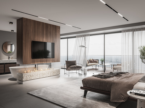 Capital - Architectural Feature「Luxurious master bedroom interior」:スマホ壁紙(2)
