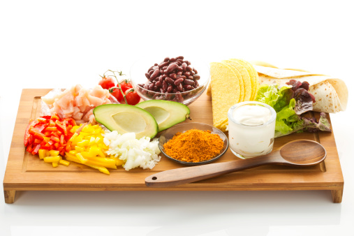Taco「Various ingredients for fajitas and tacos on chopping board」:スマホ壁紙(0)