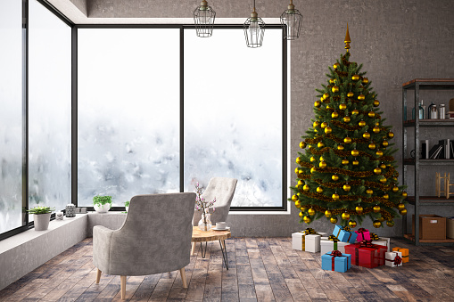 Garland - Decoration「Interior with Christmas Tree and Gifts. 2019 New Year Concept」:スマホ壁紙(17)