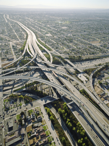 Traffic「USA, California, Los Angeles, aerial view of 105 and 405 Freeways」:スマホ壁紙(16)