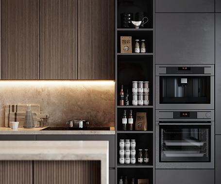 Oven「Render image of a modern kitchen interior」:スマホ壁紙(3)