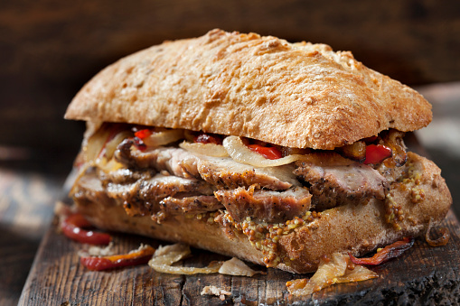Sirloin Steak「Roast Pork Sandwich with Grilled Peppers, Onions and Grainy Mustard on Ciabatta Bread」:スマホ壁紙(5)