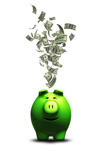 American One Hundred Dollar Bill「Money into Piggy Bank」:スマホ壁紙(6)