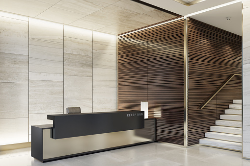 Motel「Reception desk luxurious open space interior with marble tiles with copy space」:スマホ壁紙(2)