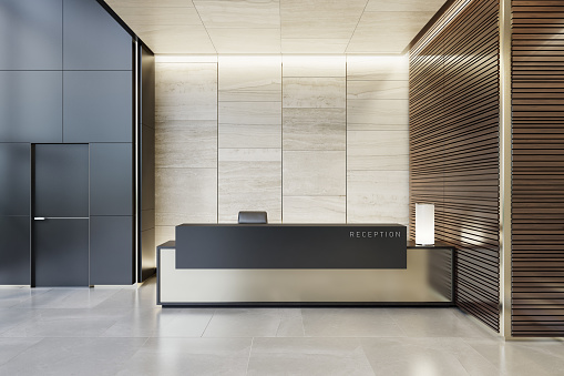 Hotel Reception「Reception desk luxurious open space interior with marble tiles with copy space」:スマホ壁紙(3)
