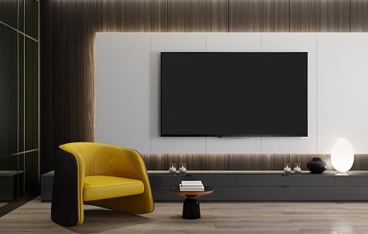 Liquid-Crystal Display「8K TV Room modern minimalist living room with flat TV with LED lights behind wall panel」:スマホ壁紙(15)