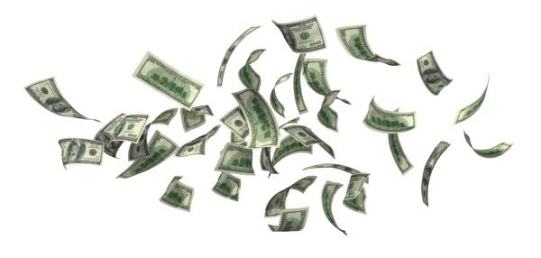 American One Hundred Dollar Bill「Money Falling」:スマホ壁紙(10)