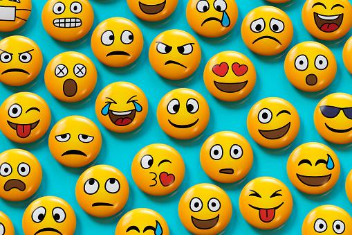 Happiness「Emoji badges on blue background」:スマホ壁紙(3)